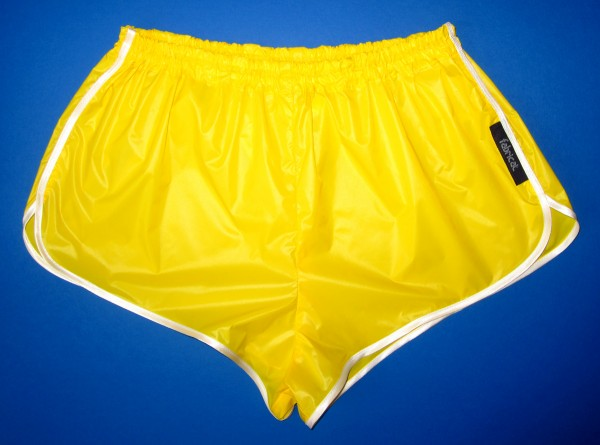fabricat retro sprinter shorts glanznylon gelb web