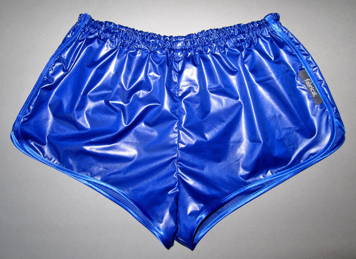 Retro Sprinter Shorts Of Shiny Nylon For Men Low Waist Lime Black