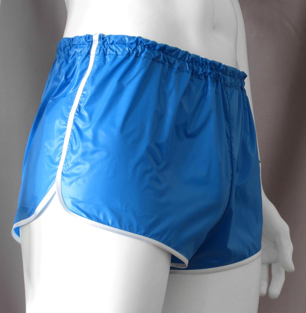Retro Sprinter Shorts Of Shiny Nylon For Men Lime Black Pictures to