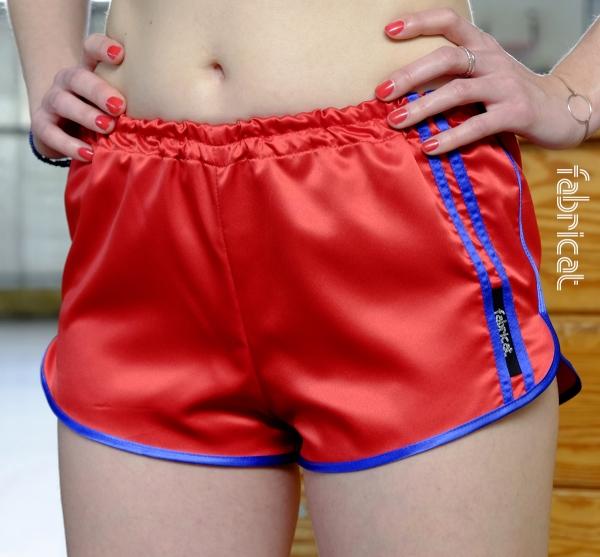 fabricat retro sprinter shorts hotpants damen satin 80er sporthose rot blau