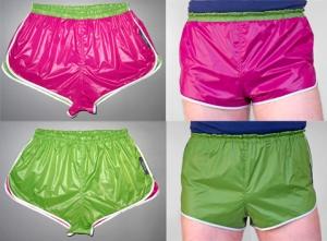 fabricat retro 80er 80s sprinter shorts glänzend shiny glossy glanznylon beere grün pink wendeshorts 4er Kopie
