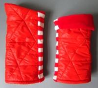 fabricat nylon nicky armstulpen stulpen gefüttert gesteppt orange rot weiß gestreift 3