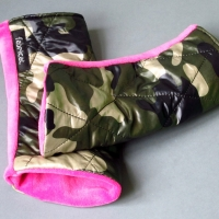 Armstulpen, Pulswärmer Glanznylon gesteppt Nicki camouflage pink