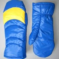 Retro Fausthandschuhe Fäustlinge Glanznylon blau gelb Größe 8-8,5
