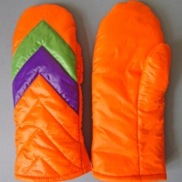 Retro Fausthandschuhe Fäustlinge Glanznylon orange lila grün Größe 7,5-8