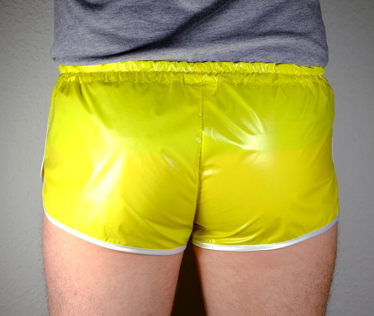 retro sprinter shorts very shiny for men plastic low waist | fabricat