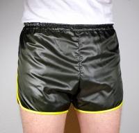 Shorts mit längerem Bein aus Glanznylon für Herren olivschwarz Gr. 48