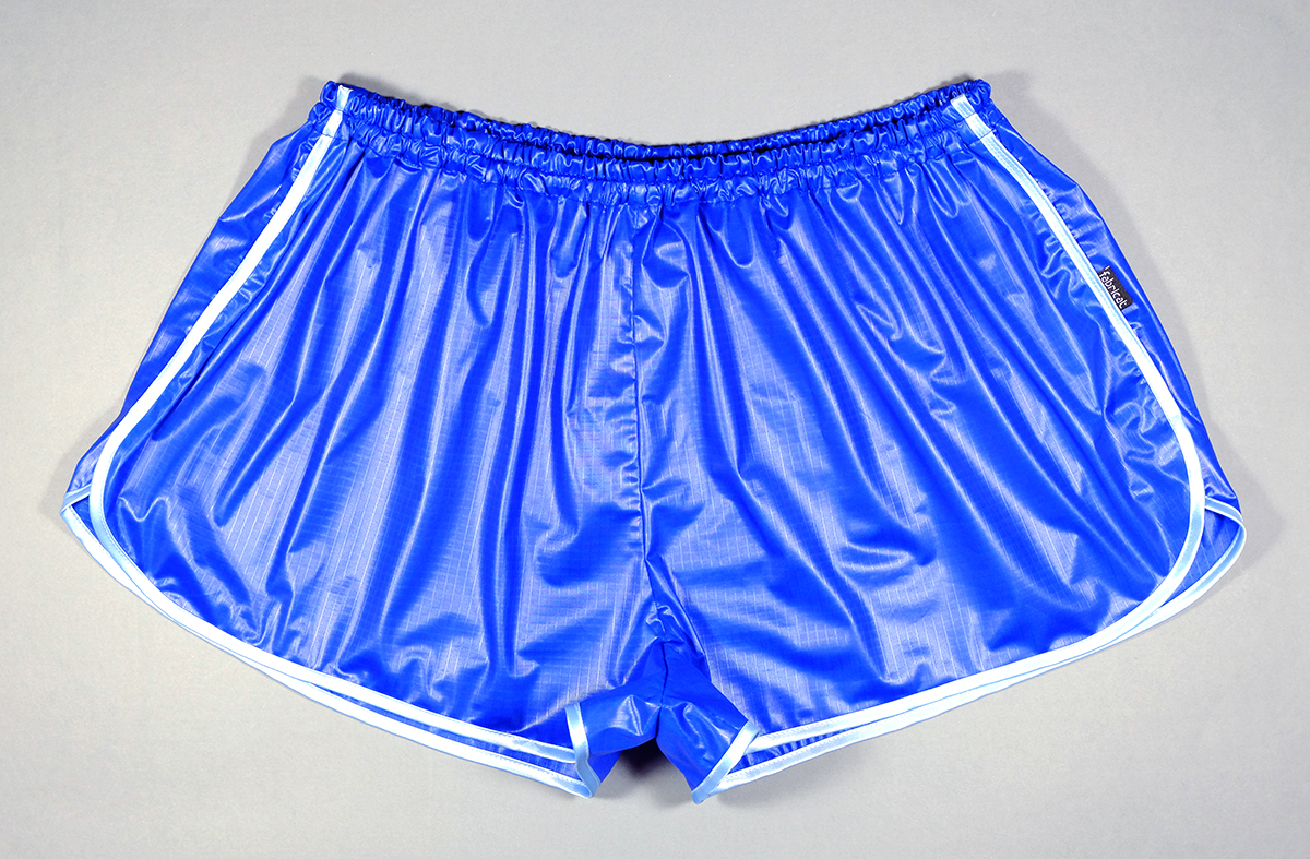 retro sprinter shorts ladies shiny nylon blue fabricat. Black Bedroom Furniture Sets. Home Design Ideas