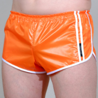 Retro Sprinter Shorts für Herren glänzend wetlook orange weiß tiefer Bund