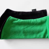 Armstulpen Pulswärmer zum Wenden Frottee u. Nicki schwarz grün