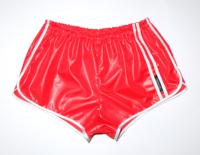 Retro Sprinter Shorts für Herren Nylon glänzend rot weiß