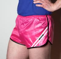 Retro Nylon Sprinter Shorts für Herren glänzend pink weiß schwarz