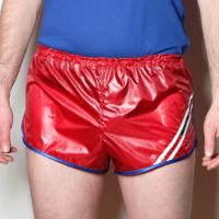 Retro Nylon Sprinter Shorts für Herren glänzend dunkelrot weiß blau Gr. 48,52,56
