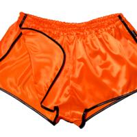 Retro Glanznylon Sprinter Shorts Satin seidenweich für Damen und Herren orange schwarz beinfrei
