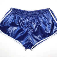 retro sprinter shorts for men shiny soft nylon blue white low waist
