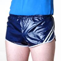 retro sprinter shorts for men wetlook nylon darkblue white